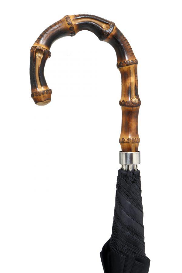 Gents Best Whangee Crook Umbrella Black